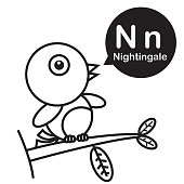 Nightingale cartoon and alphabet for children to learning and