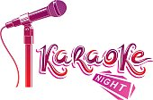 Nightlife entertainment concept, karaoke night vector inscription composed with stage microphone illustration. Leisure and relaxation lifestyle presentation.