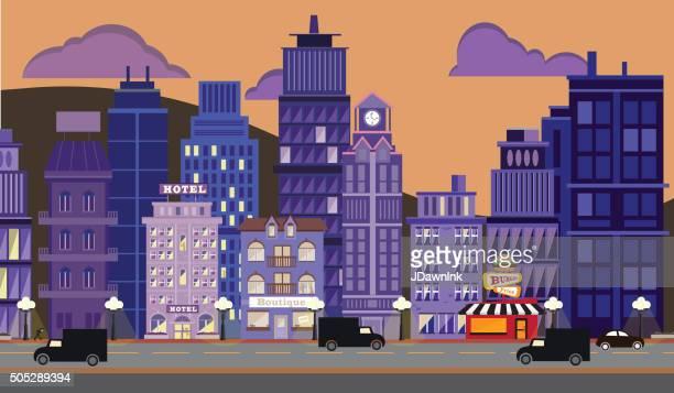 nightlife metropolitan cityscape - boutique stock illustrations, clip art, cartoons, & icons