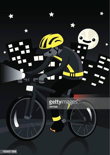 nighttime cyclist - bike helmet stock illustrations, clip art, cartoons, & icons