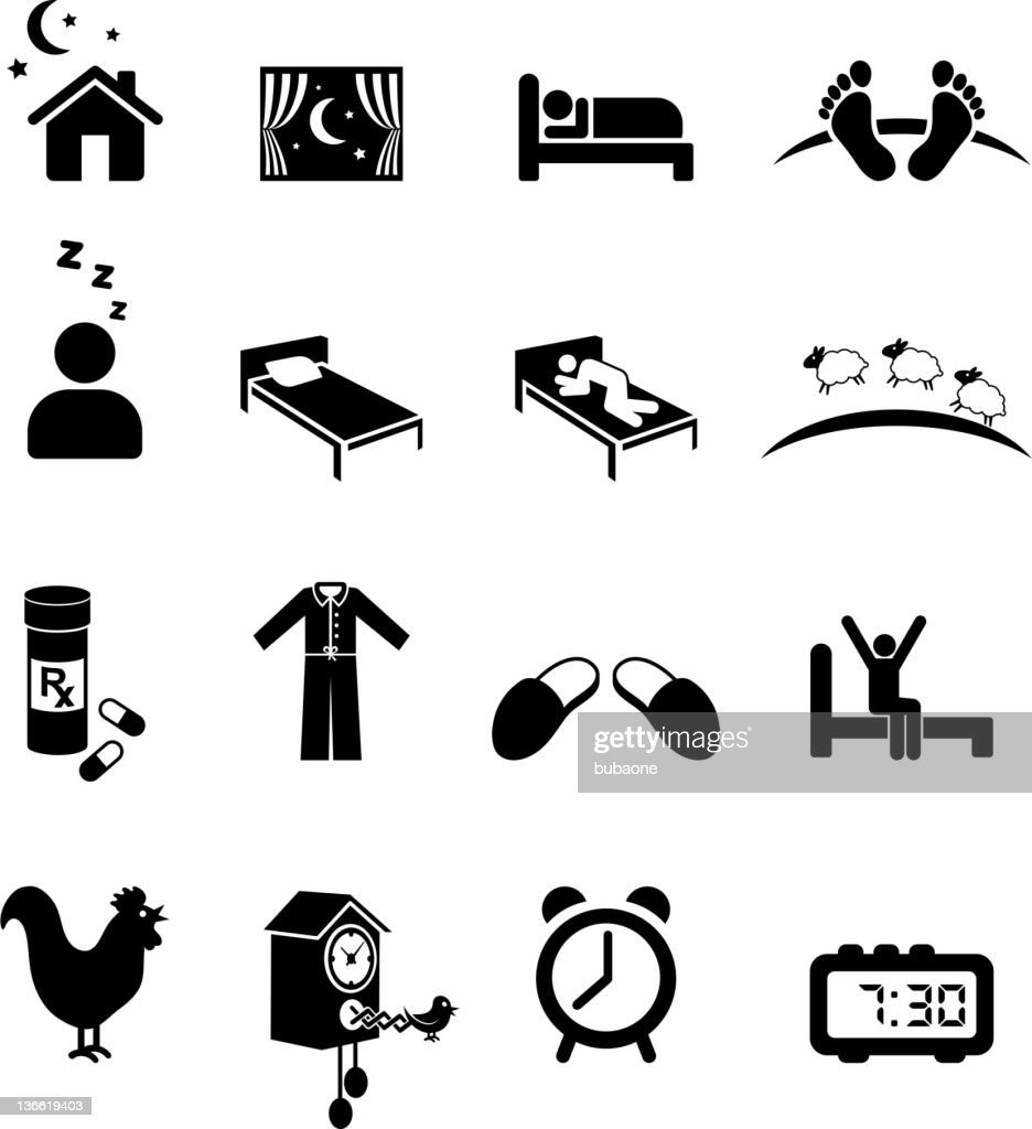 Nighttime sleep black and white royalty free vector icon set