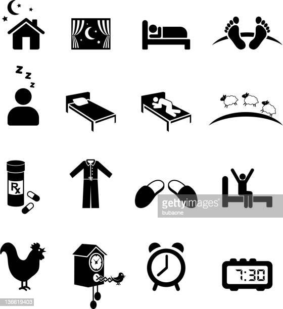nighttime sleep black and white royalty free vector icon set - sleeping stock illustrations