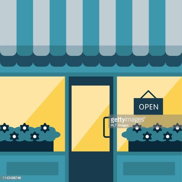 nighttime storefront illustration - awning stock illustrations, clip art, cartoons, & icons