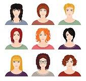 Nine avatars of pretty girls