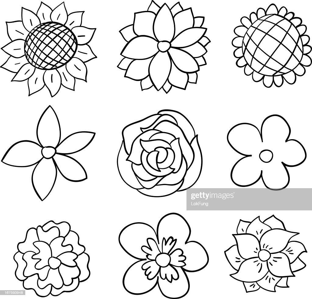 Nine black and white cartoon flowers : stock illustration