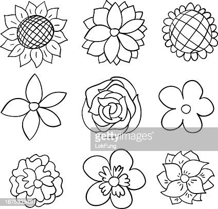 Nine Black And White Cartoon Flowers Vector Art Getty Images