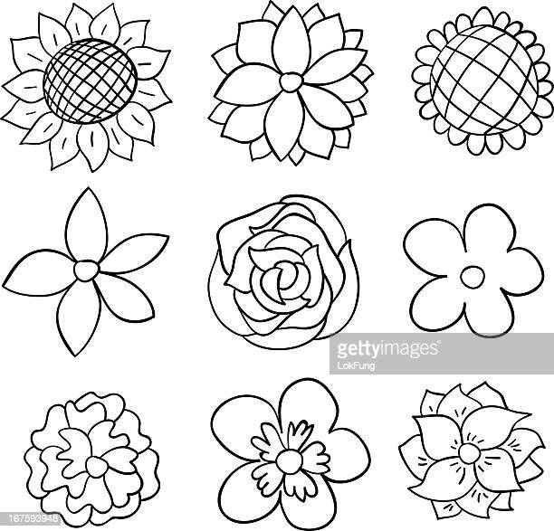 nine black and white cartoon flowers - single flower stock illustrations