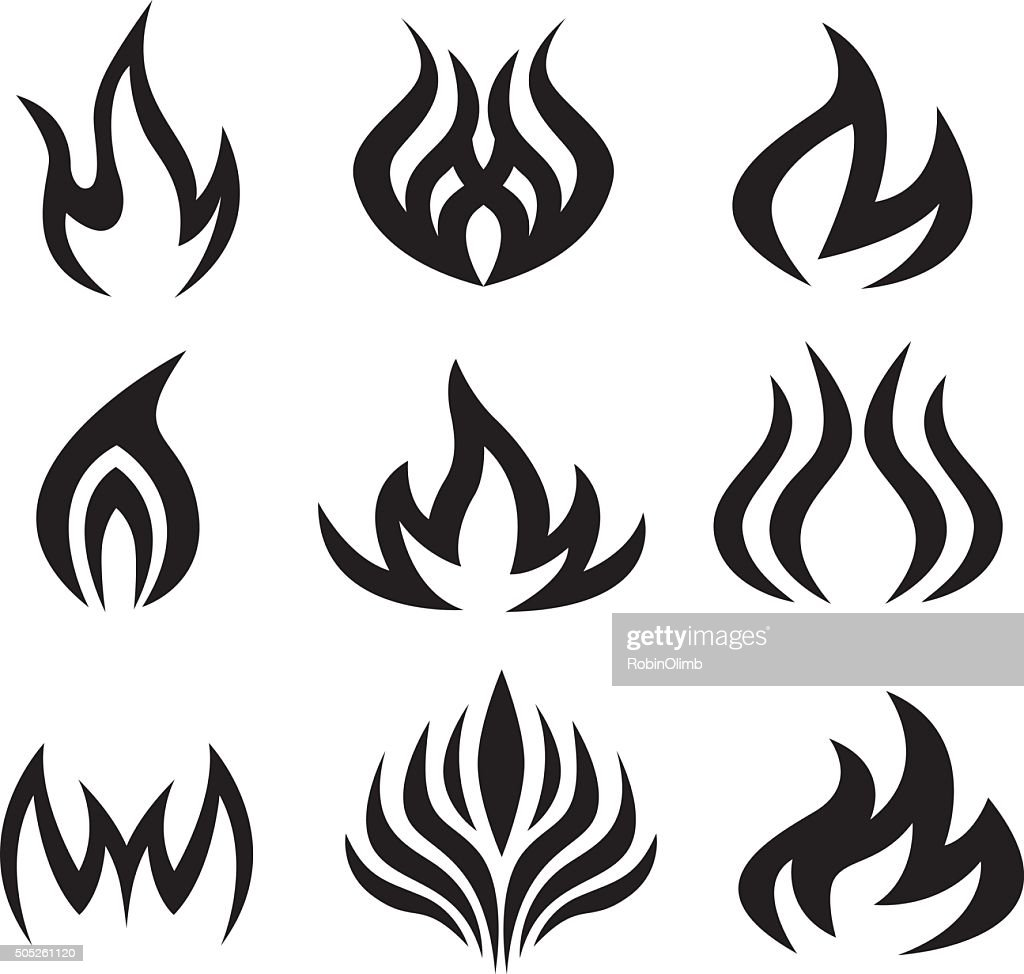 Nine Black Flame Icons : stock illustration