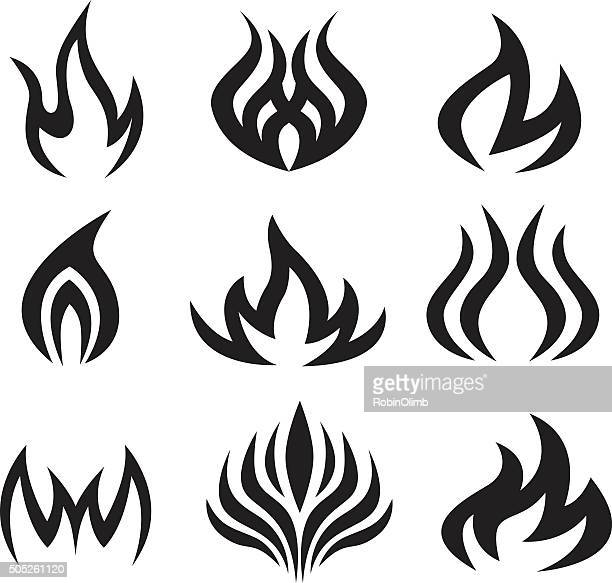 Nine Black Flame Icons