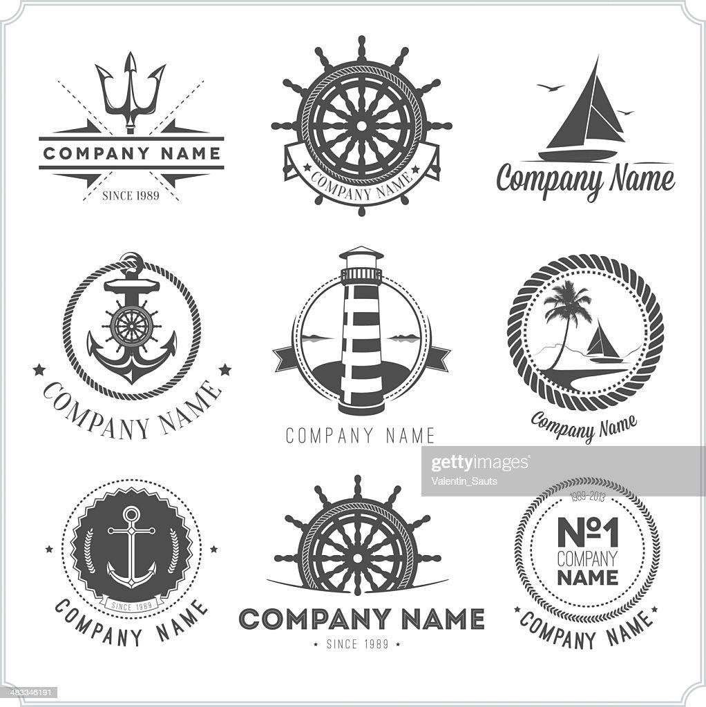 Nine black vintage nautical icons on white