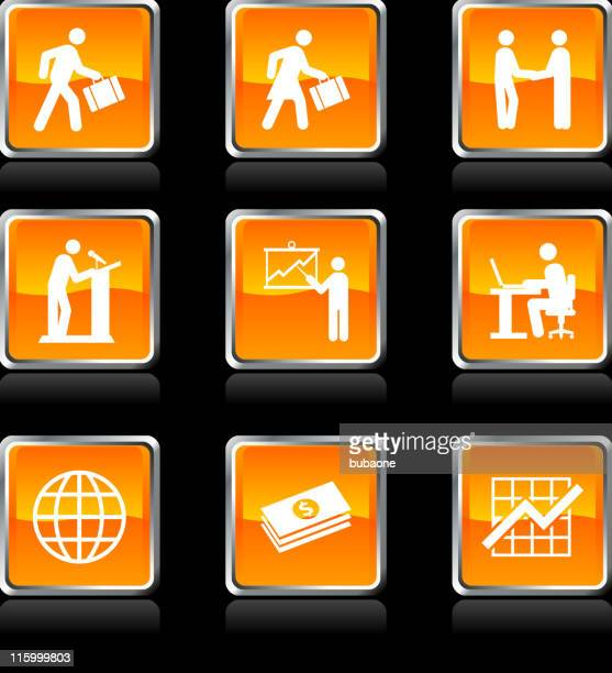 Nine business icons on black background