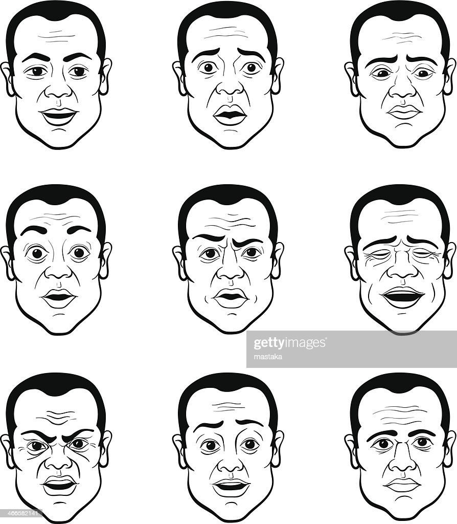 Nine cartoons of a man with various facial expressions