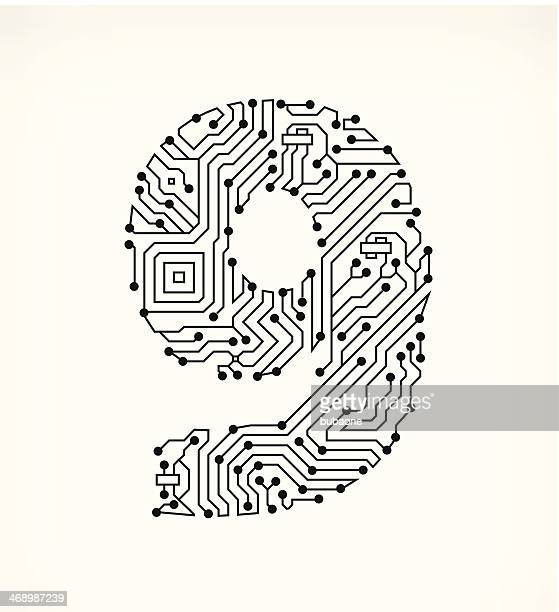 nine circuit board on white background - 8 9 years stock illustrations, clip art, cartoons, & icons