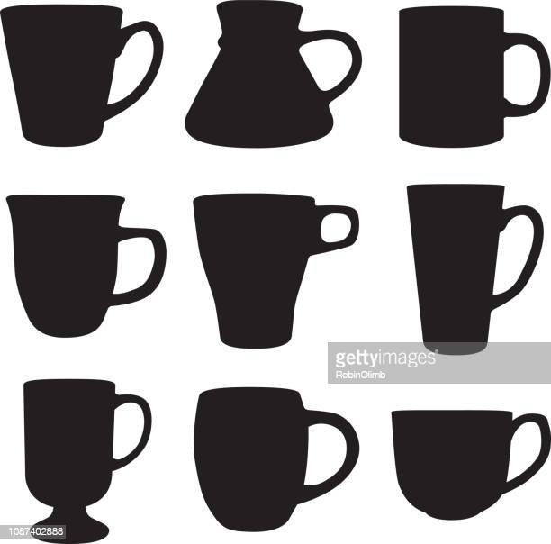 nine coffee mug silhouettes - mug stock illustrations