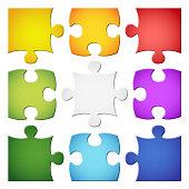 nine colored puzzle parts