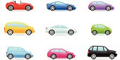 Nine colorful car selection icons in different models