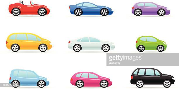 nine colorful car selection icons in different models - car stock illustrations, clip art, cartoons, & icons