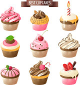 Nine colorful frosted cupcakes with BEST CUPCAKES banner