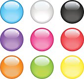 Nine colorful glossy spheres on a white background