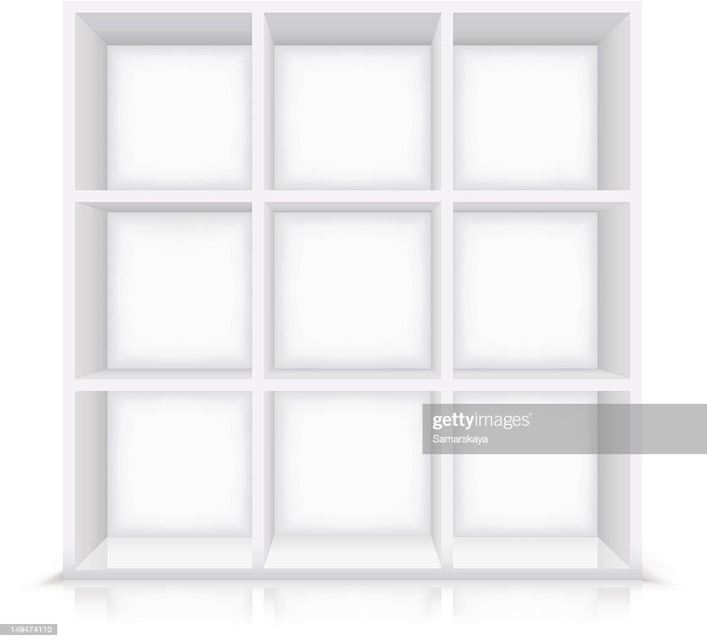 Nine Cubicle Shelf Furniture In White Against White High Res