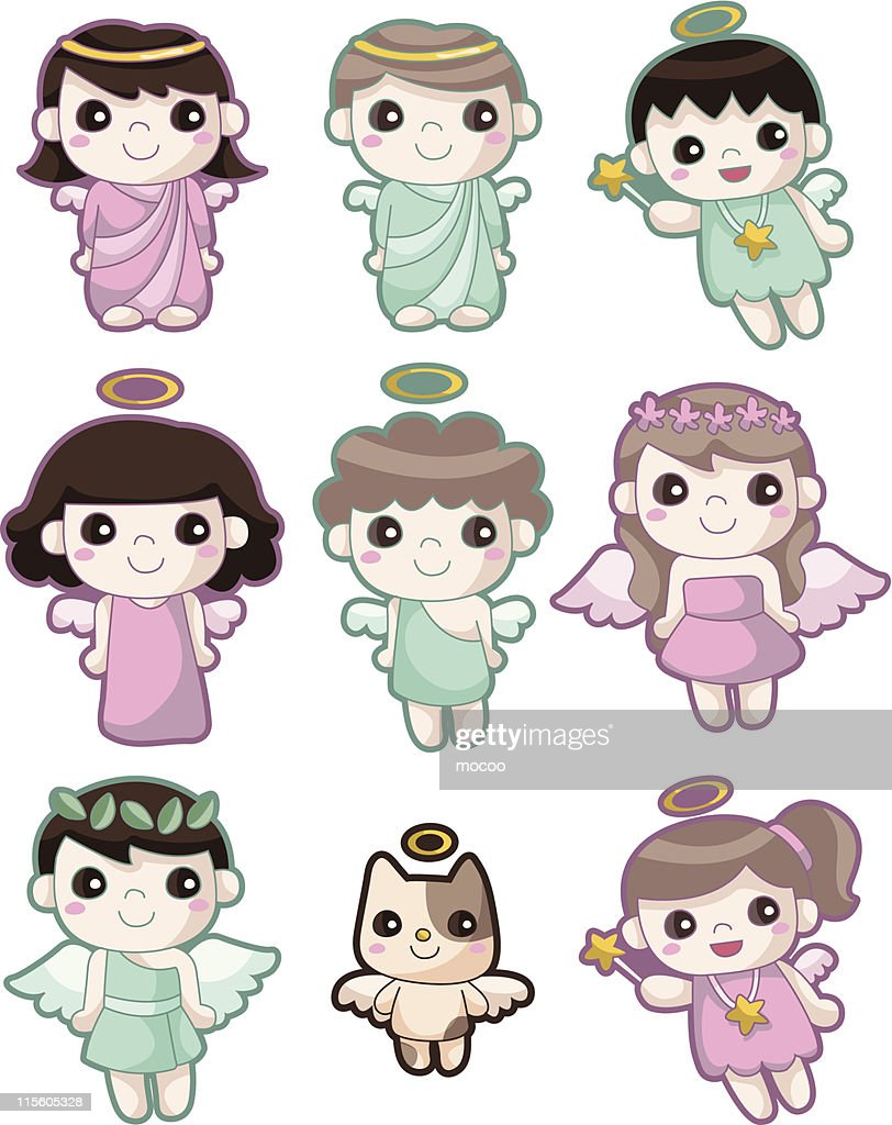 Nine cute angel icons