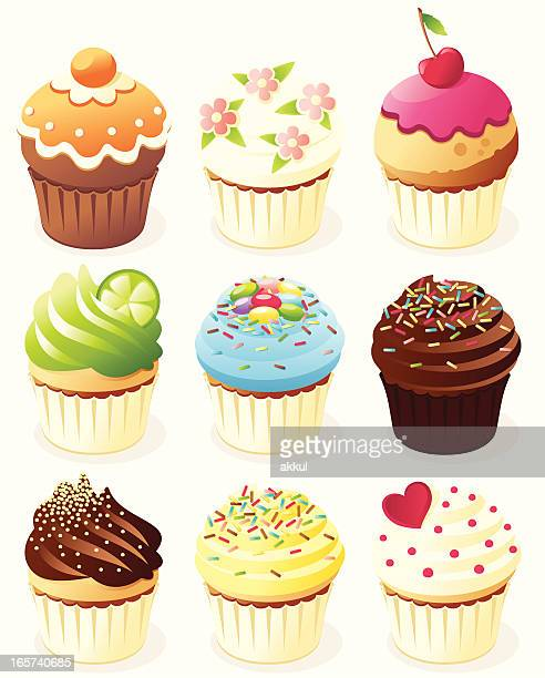 nine different animated cupcakes - whipped cream stock illustrations, clip art, cartoons, & icons
