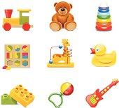 Nine different baby toy Icon set