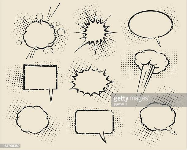 Nine different cartoon speech bubbles