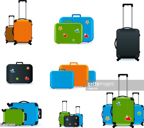 Nine different colored and shaped suitcases