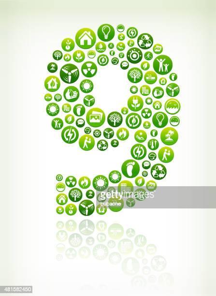 Neun Umweltschutz grünen Vektor-Button versehen.