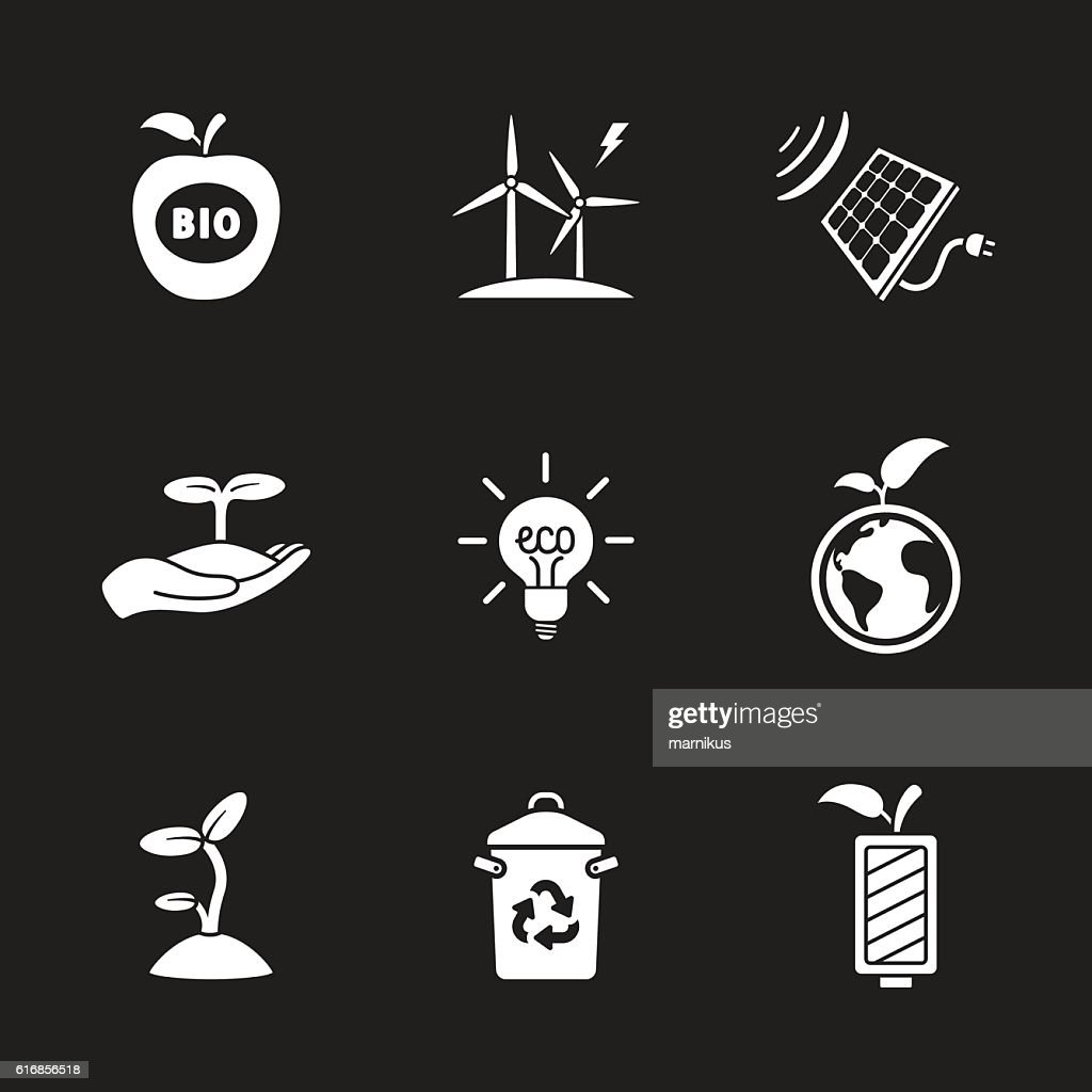 nine flat eco icons : Vector Art