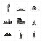 nine flat landmark icons