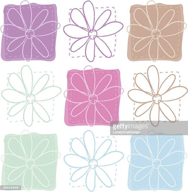 nine flowers - quilt stock illustrations, clip art, cartoons, & icons