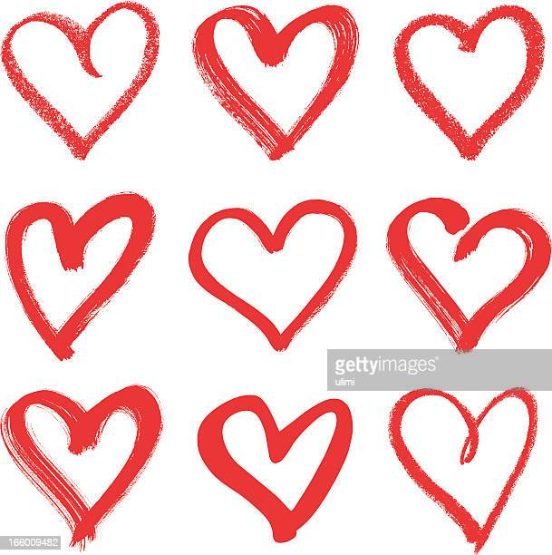 nine hand drawn red hearts with different thicknesses - heart shape stock illustrations