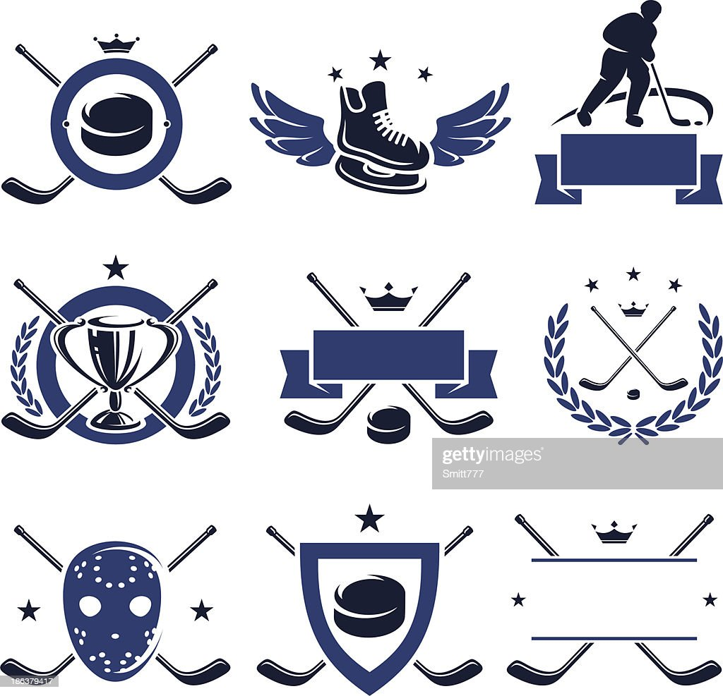 Nine hockey icon labels in blue and black on white