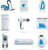 Nine home appliances in black, white, and blue