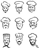 Nine icons of restaurant chefs all wearing hats