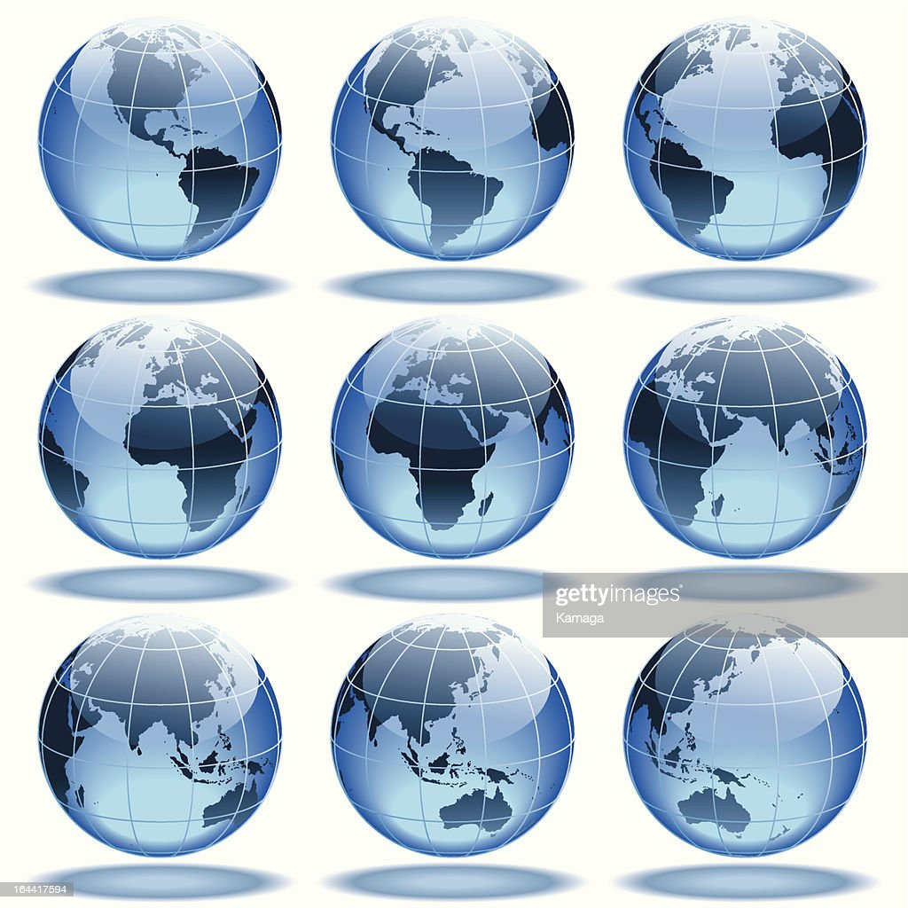 Nine images of a globe turning over a white background