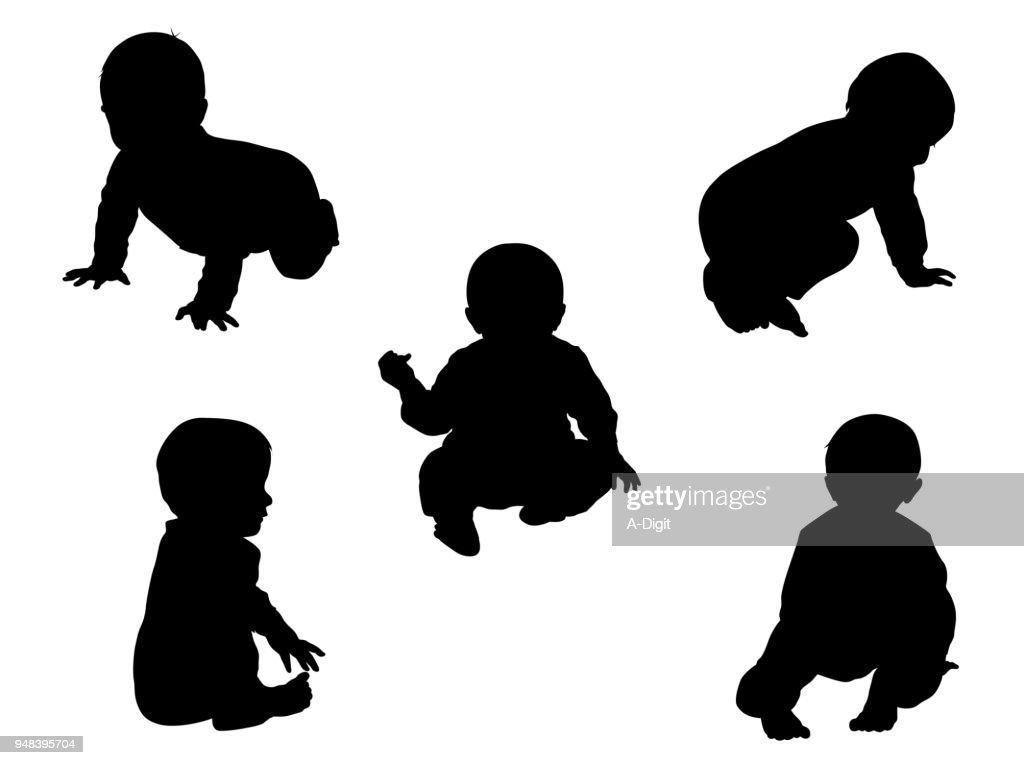 Nine Month Old Sitting Baby : Stock Illustration