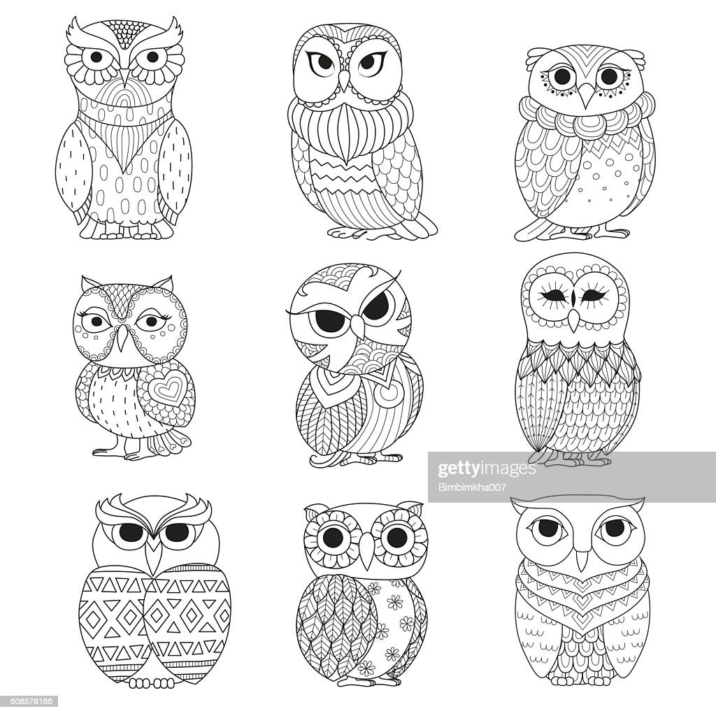 nine owls coloring books : Vector Art