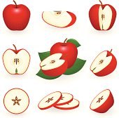 Nine pictures of red apples whole and sliced in three rows