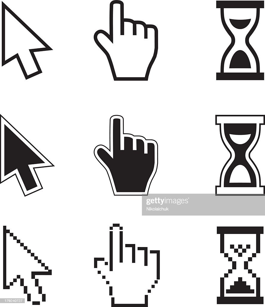Nine pixelated icons for cursors and hourglasses