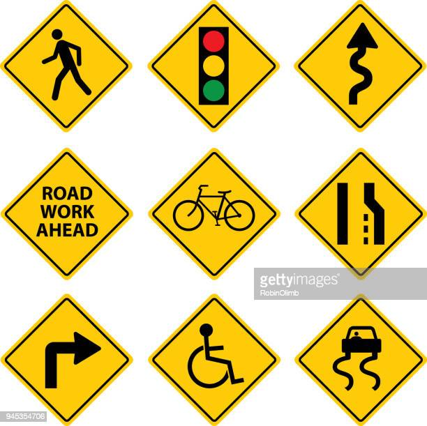nine road signs - road sign stock illustrations, clip art, cartoons, & icons