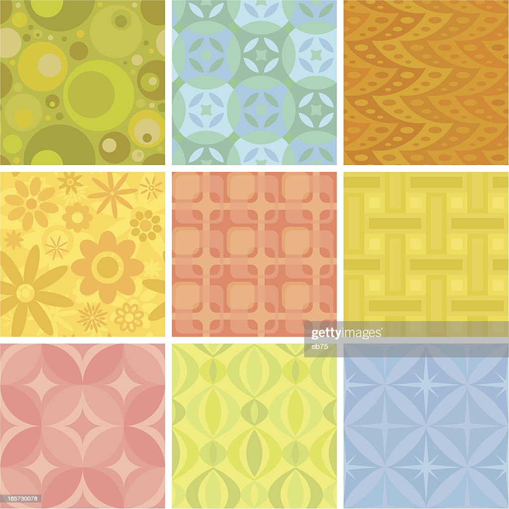 Nine seamless retro patterns