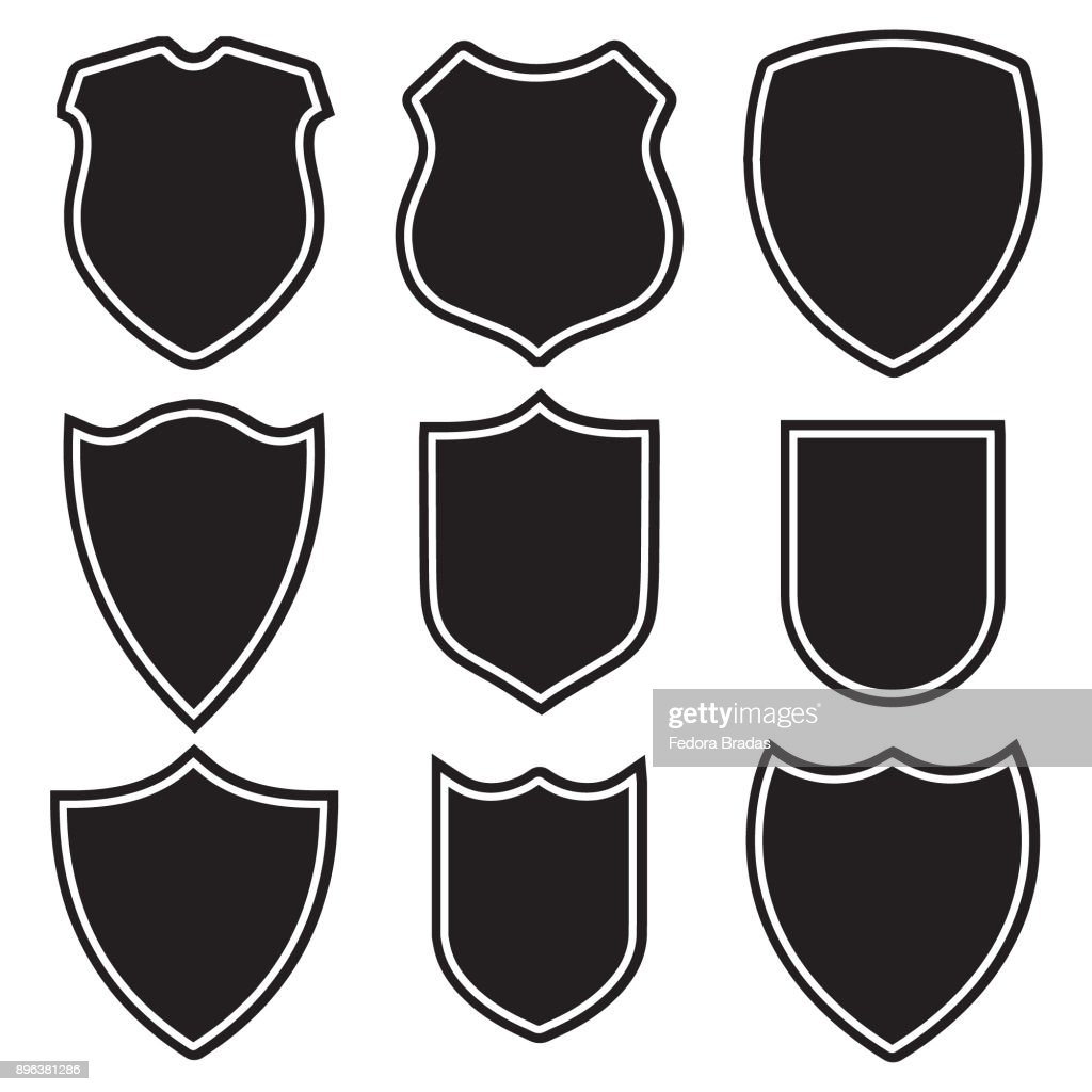 Nine shield icon set