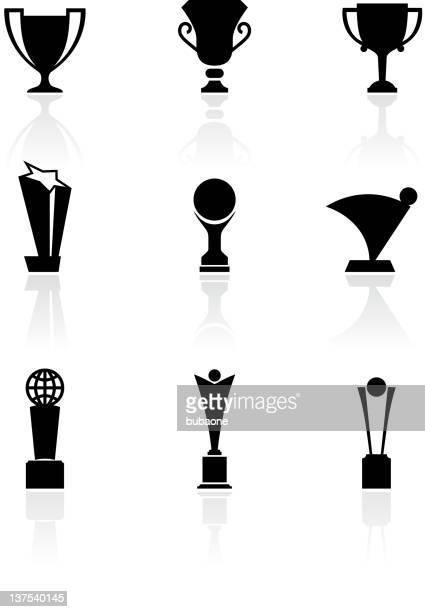 nine sports trophies black and white royalty free vector set - traditional sport stock illustrations, clip art, cartoons, & icons