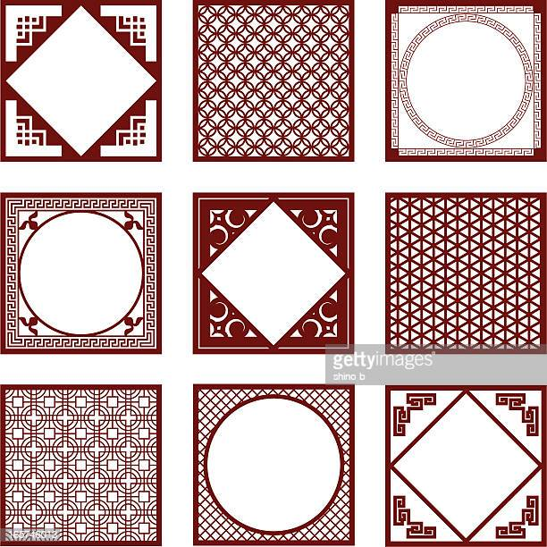 nine styles of asian pattern and frames - art and craft stock illustrations