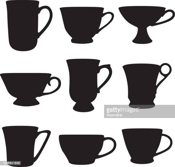 Nine Teacups Silhouettes