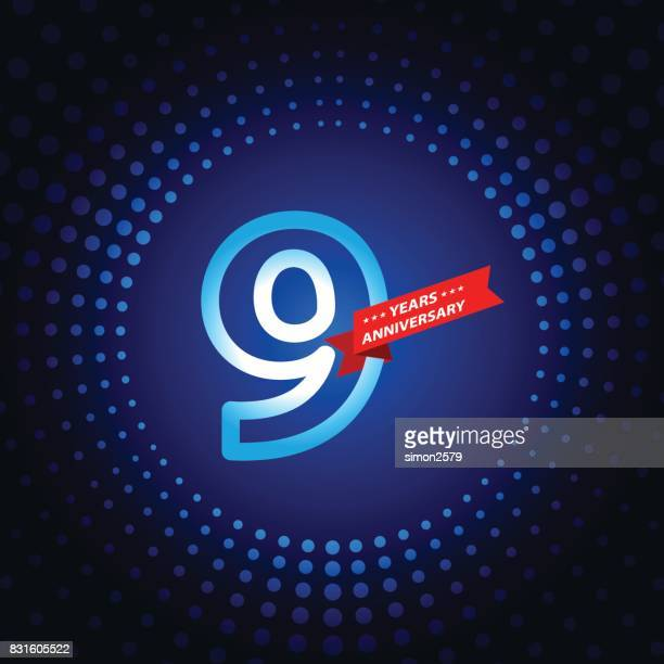 nine years anniversary icon with blue color background - 8 9 years stock illustrations