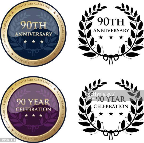 90 周年記念ゴールド メダル - 数字の90点のイラスト素材/クリップアート素材/マンガ素材/アイコン素材